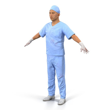 Male Surgeon Asian Rigged with Blood 2 for Cinema 4D. Render 13