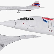Concorde Supersonic Passenger Jet Airliner British Airways Rigged. Preview 15