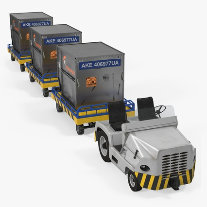 Airport Tug Clark CT30 Carrying Passengers Luggage. Render 1