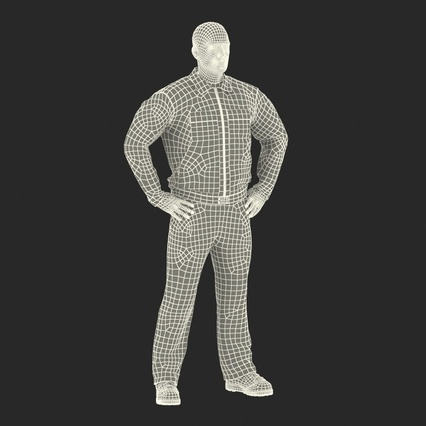 Factory Worker Orange Overalls Standing Pose. Render 4