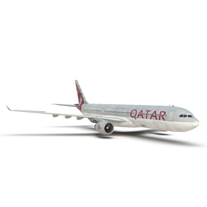 Jet Airliner Airbus A330-300 Qatar Rigged. Render 33