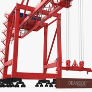 Port Container Crane Red with Container. Preview 19