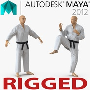 Japanese Karate Fighter Rigged for Maya