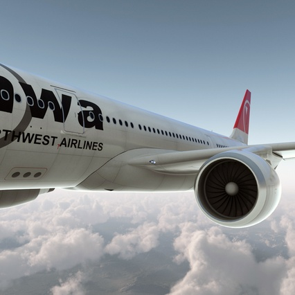 Jet Airliner Airbus A330-200 Northwest Airlines Rigged. Render 13
