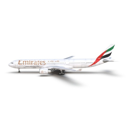 Jet Airliner Airbus A330-300 Emirates Rigged. Render 3