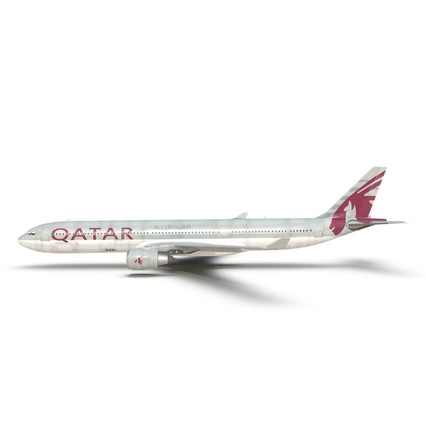 Jet Airliner Airbus A330-300 Qatar Rigged. Render 19