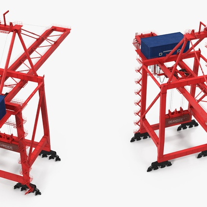 Port Container Crane Red with Container. Render 11