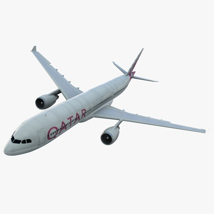 Jet Airliner Airbus A330-300 Qatar Rigged. Render 1
