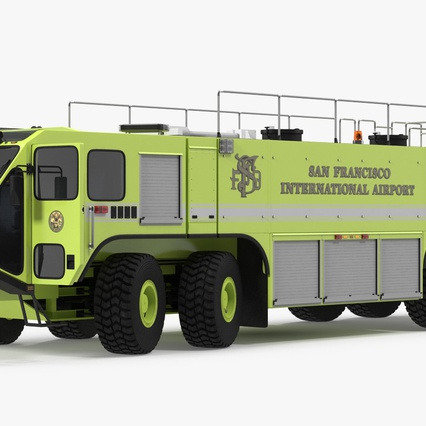 Oshkosh Striker 4500 Aircraft Rescue and Firefighting Vehicle Rigged. Render 8