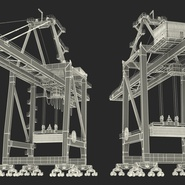 Port Container Crane Red with Container. Preview 45