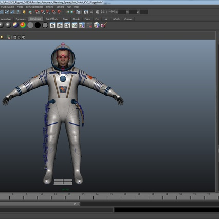 Russian Astronaut Wearing Space Suit Sokol KV2 Rigged for Maya. Render 48