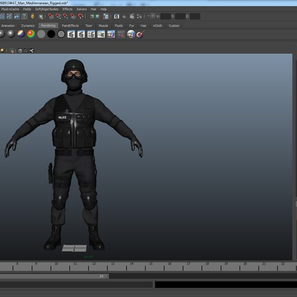 SWAT Man Mediterranean Rigged for Maya. Render 43