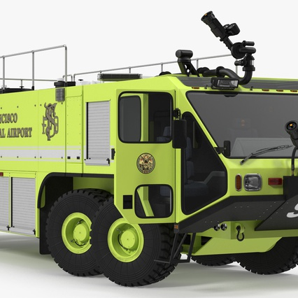 Oshkosh Striker 4500 Aircraft Rescue and Firefighting Vehicle Rigged. Render 9