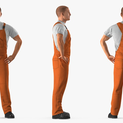 Worker In Orange Overalls Standing Pose. Render 5
