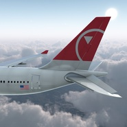 Jet Airliner Airbus A330-200 Northwest Airlines Rigged. Preview 15