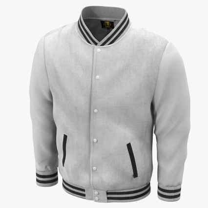 White Baseball Jacket. Render 2