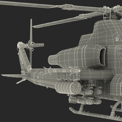 Attack Helicopter Bell AH 1Z Viper Rigged. Render 107