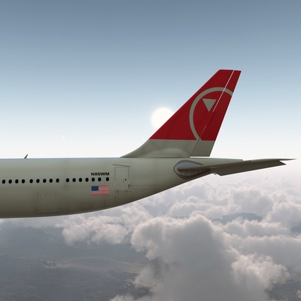 Jet Airliner Airbus A330-300 Northwest Airlines Rigged. Render 16