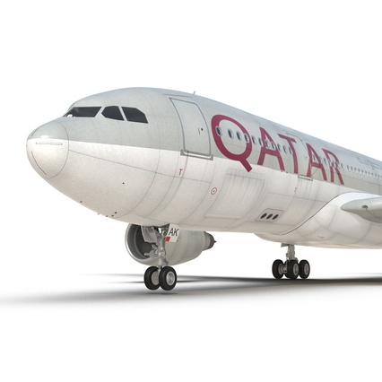 Jet Airliner Airbus A330-200 Qatar. Render 40