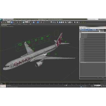 Jet Airliner Airbus A330-300 Qatar Rigged. Render 55