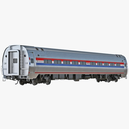 Railroad Amtrak Passenger Car 2. Render 1