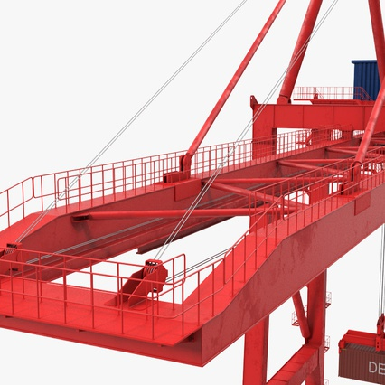 Port Container Crane Red with Container. Render 24