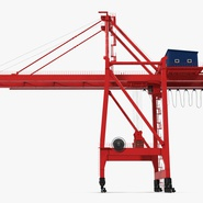 Port Container Crane Red with Container. Preview 5