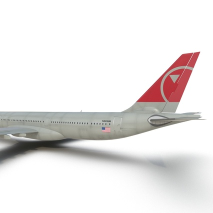 Jet Airliner Airbus A330-300 Northwest Airlines Rigged. Render 40