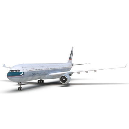 Jet Airliner Airbus A330-300 Cathay Pacific Rigged. Render 21