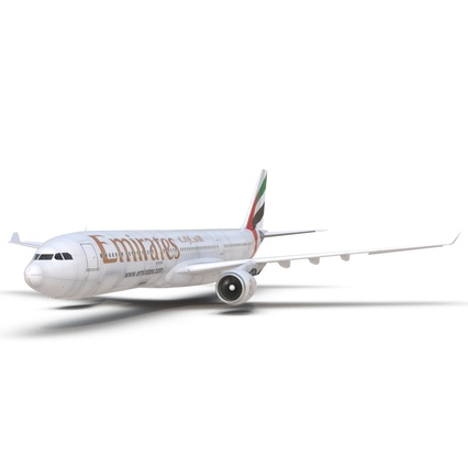 Jet Airliner Airbus A330-300 Emirates Rigged. Render 30