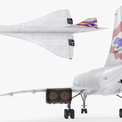 Concorde Supersonic Passenger Jet Airliner British Airways Rigged. Render 16
