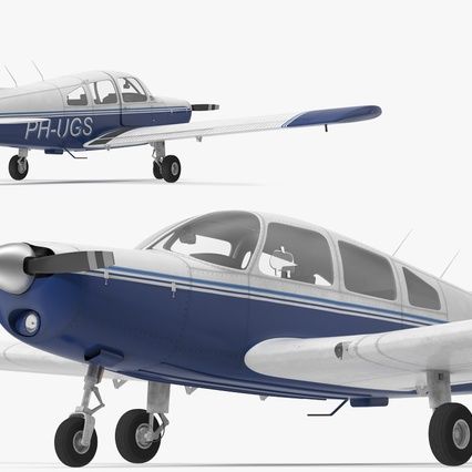 Piper PA-28-161 Cherokee Rigged. Render 18