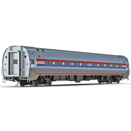 Railroad Amtrak Passenger Car 2. Render 2