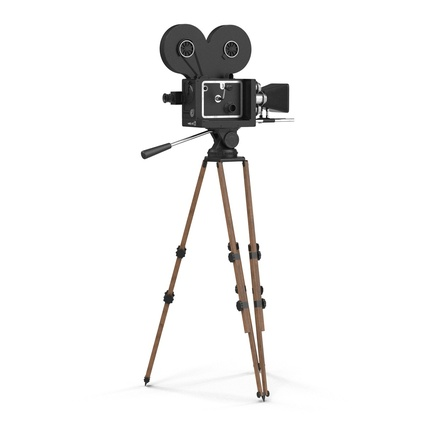 Vintage Video Camera and Tripod. Render 6