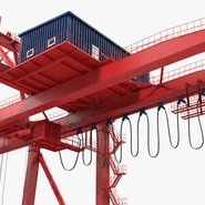 Port Container Crane Red with Container. Preview 25
