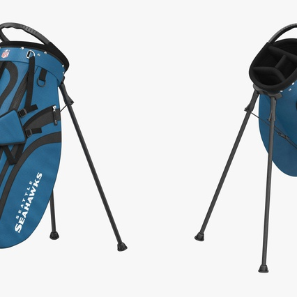 Golf Bag Seahawks with Clubs. Render 8