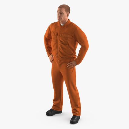 Factory Worker Orange Overalls Standing Pose. Render 2