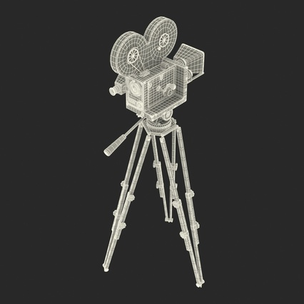 Vintage Video Camera and Tripod. Render 39