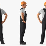 Construction Worker Black Uniform with Hardhat Standing. Preview 5