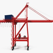 Port Container Crane Red with Container. Preview 9