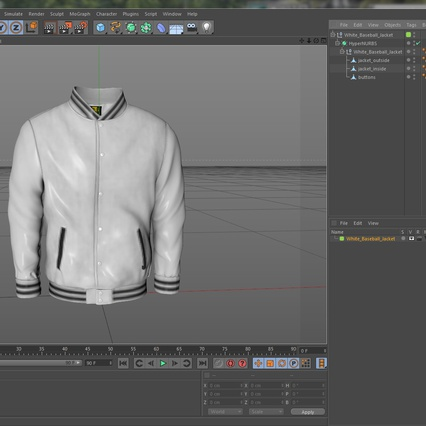 White Baseball Jacket. Render 15