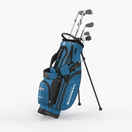 Golf Bag Seahawks with Clubs. Render 3