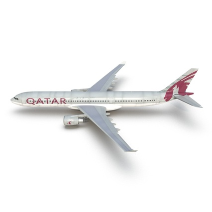 Jet Airliner Airbus A330-300 Qatar Rigged. Render 18