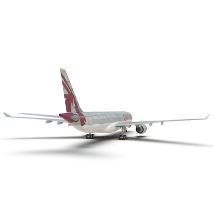 Jet Airliner Airbus A330-300 Qatar Rigged. Render 32