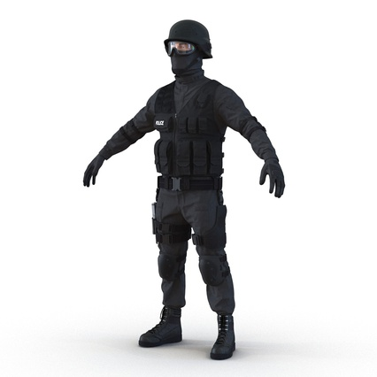 SWAT Man Mediterranean Rigged for Maya. Render 17