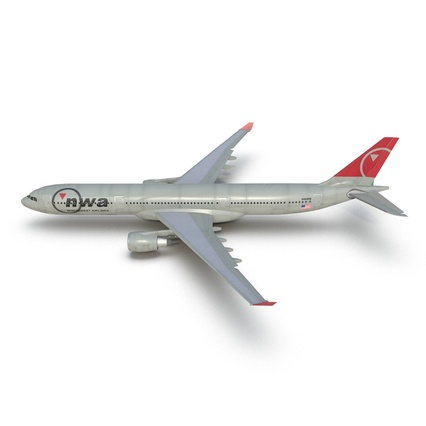 Jet Airliner Airbus A330-300 Northwest Airlines Rigged. Render 18