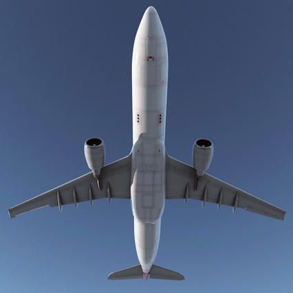 Jet Airliner Airbus A330-300 Qatar Rigged. Render 12