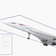 Concorde Supersonic Passenger Jet Airliner British Airways Rigged. Preview 5
