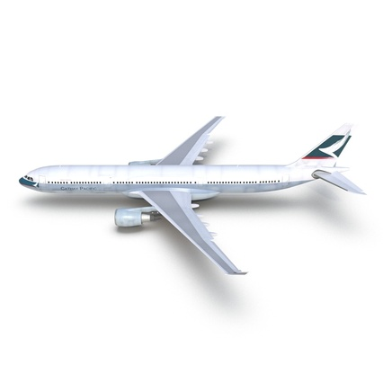 Jet Airliner Airbus A330-300 Cathay Pacific Rigged. Render 8