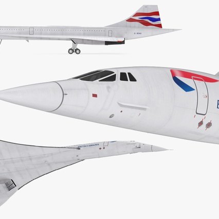 Concorde Supersonic Passenger Jet Airliner British Airways Rigged. Render 15